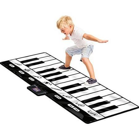 Ez Play Piano - Click N' Play Gigantic Keyboard Play Mat, 24 Keys Piano Mat, 8 Selectile Musical Instruments + Play -Record -Playback -Demo-mode