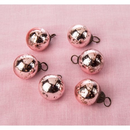 Mini Mercury Glass Ornaments Ava Classic Ball Design 1 1 5 Inches Rose Gold Set Of 6 Vintage Style Mercury Glass Christmas Ornaments