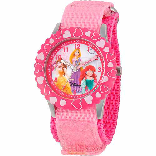 Disney Princess Girls' Stainless Steel Watch, Pink Strap
