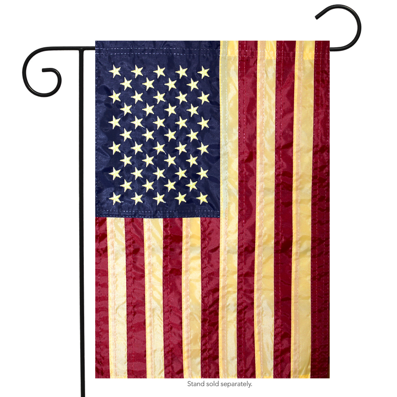 """Tea Stained Embroidered American Flag Garden Flag Stars & Stripes USA 12"""" x 18"""""""