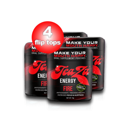 Teaza Herbal Energy Pouch Fire with Cayenne and Habenero 4 Pack (Fire Food And Drink)