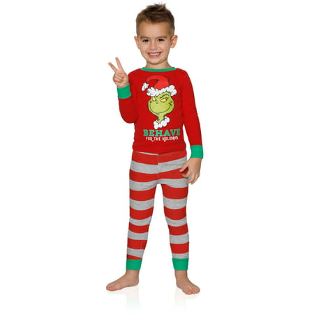 Dr. Seuss The Grinch Toddlers Behave For The Holidays Boys Pajamas, Red, Size: 4T (Boys Holiday Pajamas)
