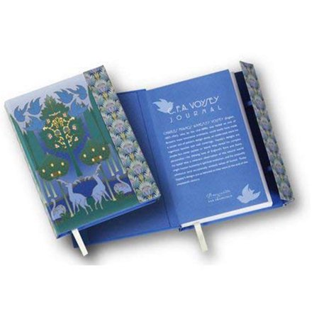 C.f.a. Voysey Bird And Tulip Lined Journal: Magnetic Closure Journal With 160 Pages, Penholder, And Pocket