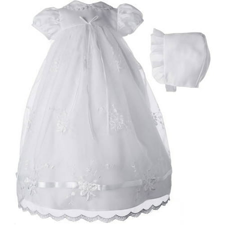 Christening Baptism Newborn Baby Girl Special Occasion Girls Long Organza Embroidered Dress w/ Ribbon Beaded Trim
