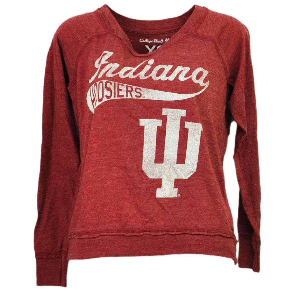 NCAA Indiana Hoosiers Long Sleeve Tshirt Tee Burgundy Womens Loose Fit XSmall