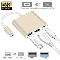 USB Type C Hub HDMI 4K Adapter USB-C to Converter with 3.0 USB and 3.1 Charging Port