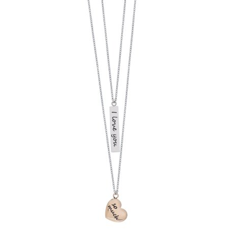 Stainless Steel I Love You So Much Layered Necklace