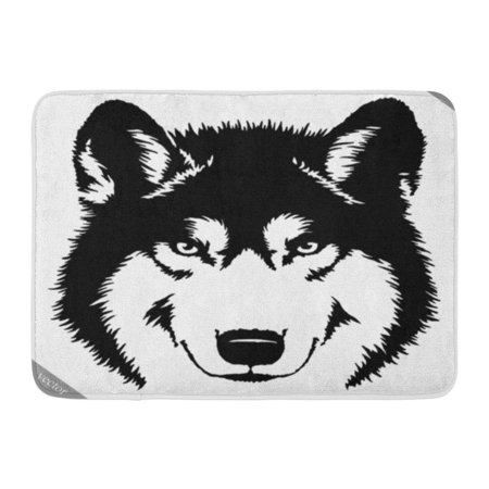 Godpok Abstract Animal Black And White Paint Draw Wolf Linear Aggressive Rug Doormat Bath Mat 23 6x15 7 Inch