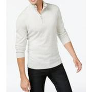 INC NEW Cloud Grey Heather Men's 2XL 1/4 Zip Mock Neck Pullover Sweater