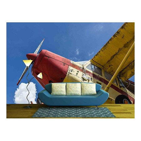 wall26 - Vintage Airplane seen from Below, with Blue Sky in The Background - Removable Wall Mural   Self-Adhesive Large Wallpaper - 66x96 (The Best Wallpaper Ever Seen)