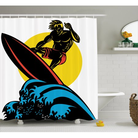 Ride The Wave Shower Curtain, Dude Surfing the Big Waves in Ocean Exotic Sports Sea Beach Hobby Graphic Art, Fabric Bathroom Set with Hooks, Multicolor, by Ambesonne - Dude Shower