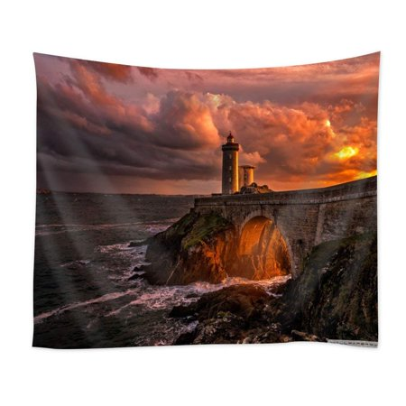 CADecor Divine Light of Sun Lighthouse Home Decor Wall Hanging Tapestry 60x90 Inch