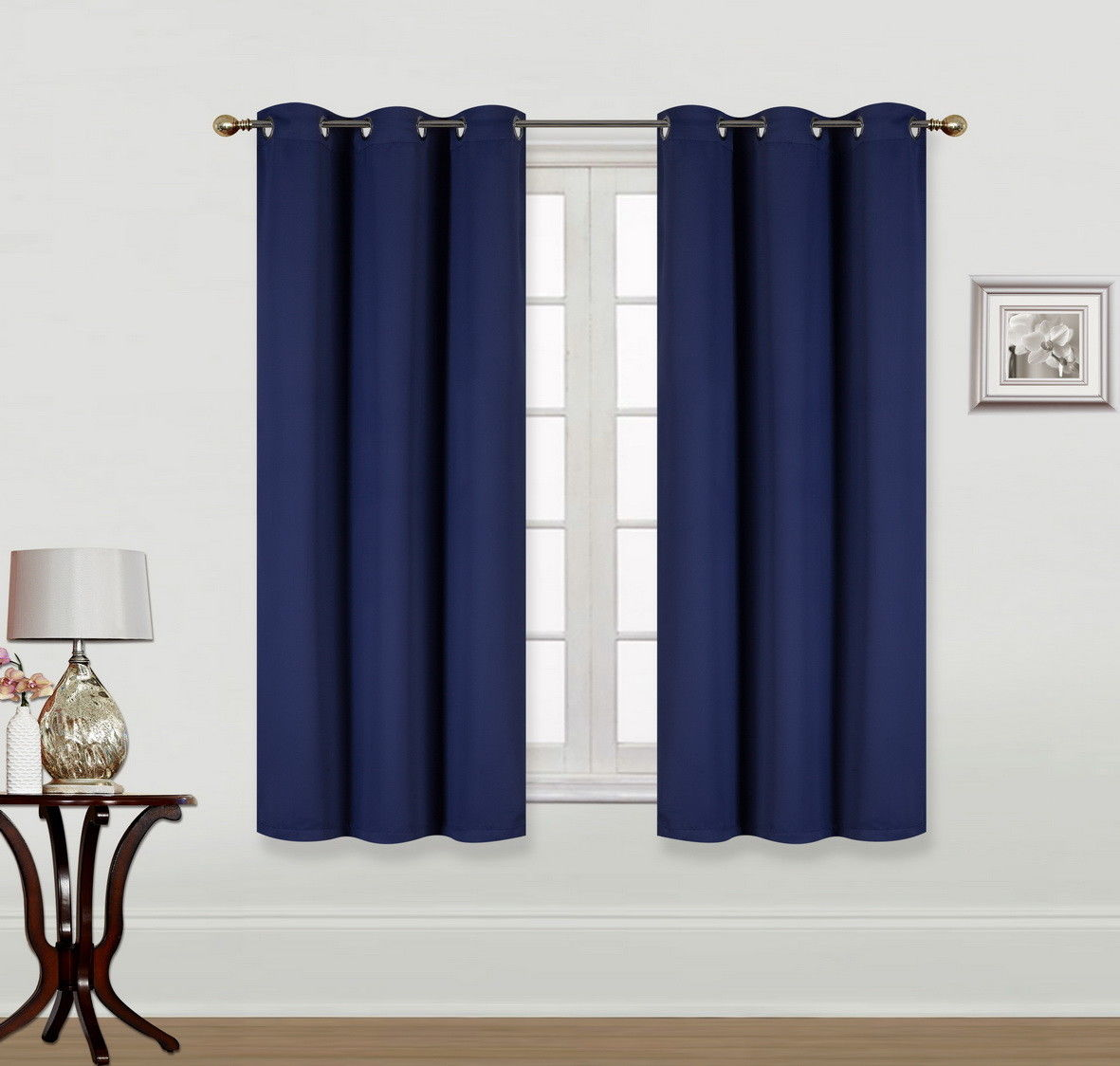 "(K68) NAVY BLUE 2-Piece Indoor and Outdoor Thermal Sun Blocking Grommet Window Curtain Set, Two (2) Panels 35"" x 63"" Each"