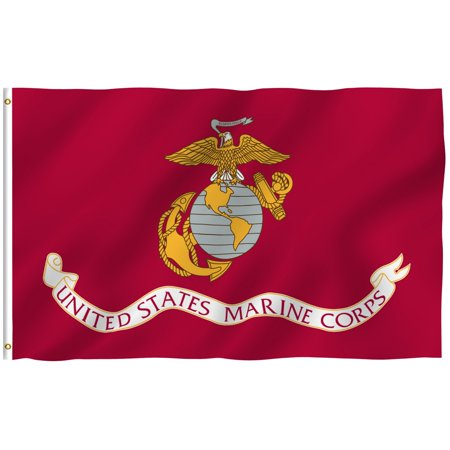 ANLEY [Fly Breeze] 3x5 Feet US Marines Flag - Vivid Color and UV Fade Resistant - Canvas Header and Brass Grommets - US Military Banner Flags (Military Flap)