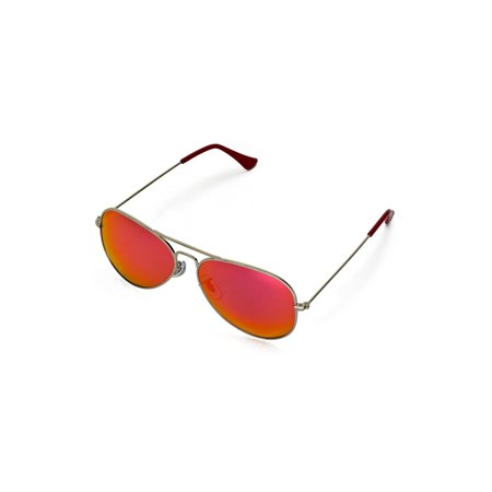Walleva Pilo Sunglasses With Aluminum Alloy Frame - Multiple Options Available (Titanium Frame + Red Lenses + Red Rubber)
