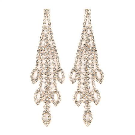 - Riah Fashion Clear Chandelier Rhinestone Earrings