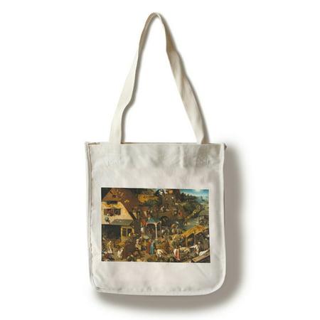 Netherlandish Proverbs - Masterpiece Classic - Artist: Pieter Bruegel the Elder c. 1559 (100% Cotton Tote Bag -