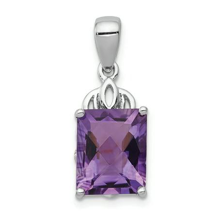 - 925 Sterling Silver Purple Amethyst Pendant Charm Necklace Gemstone Fine Jewelry For Women Gift Set