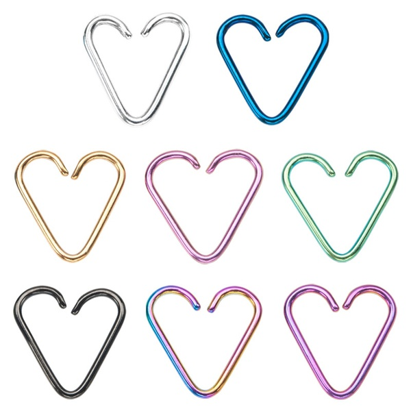 Heart Cartilage Earrings - 18ga 316L Surgical Steel Titanium Plated - Annealed