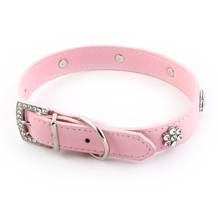 Pet Dog Faux Leather Flower Faux Rhinestone Decor Buckle Neck Collar Pink L Size - image 4 of 5