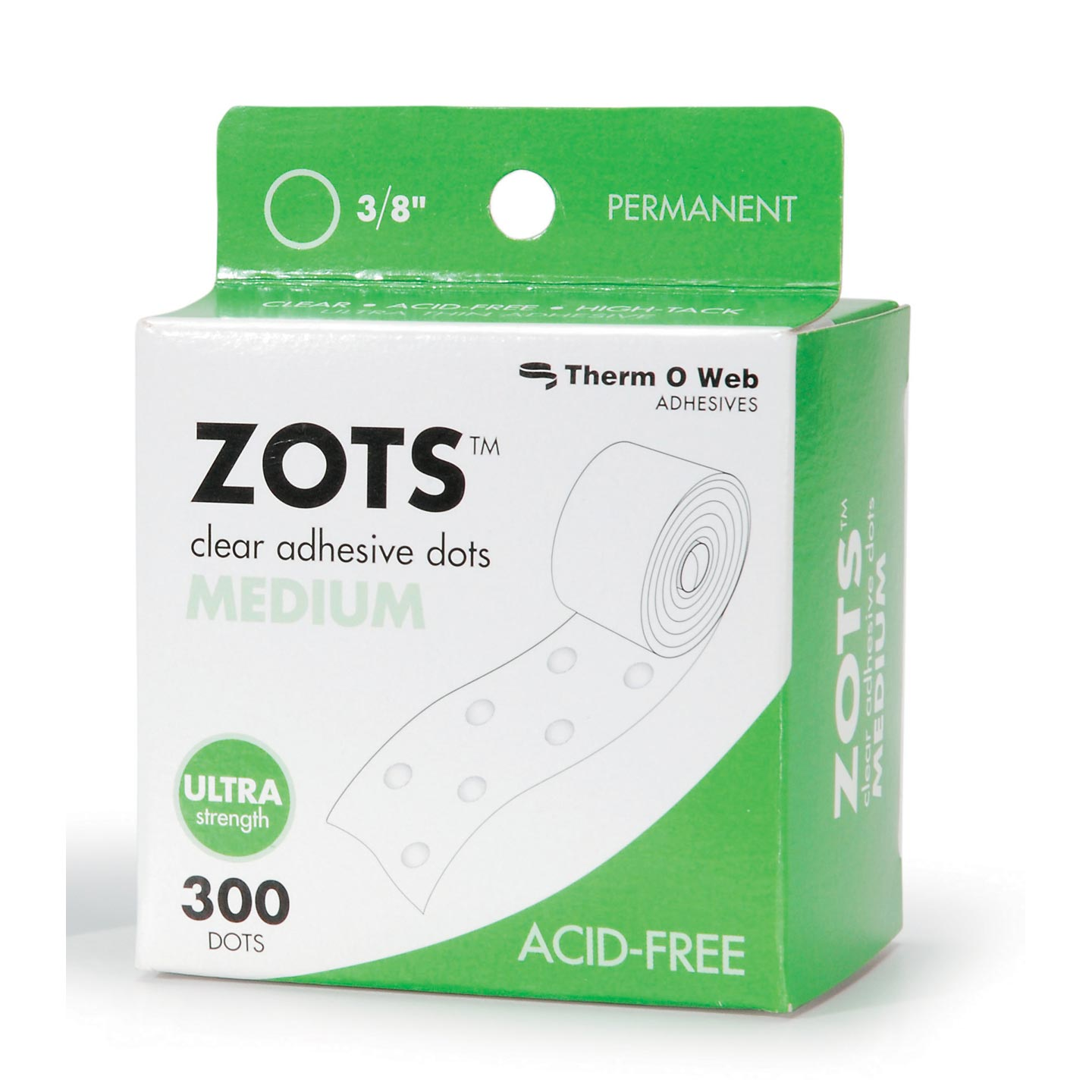 Zots Adhesive Dots Medium .375In Diam .015In Thick 300Ct Rol