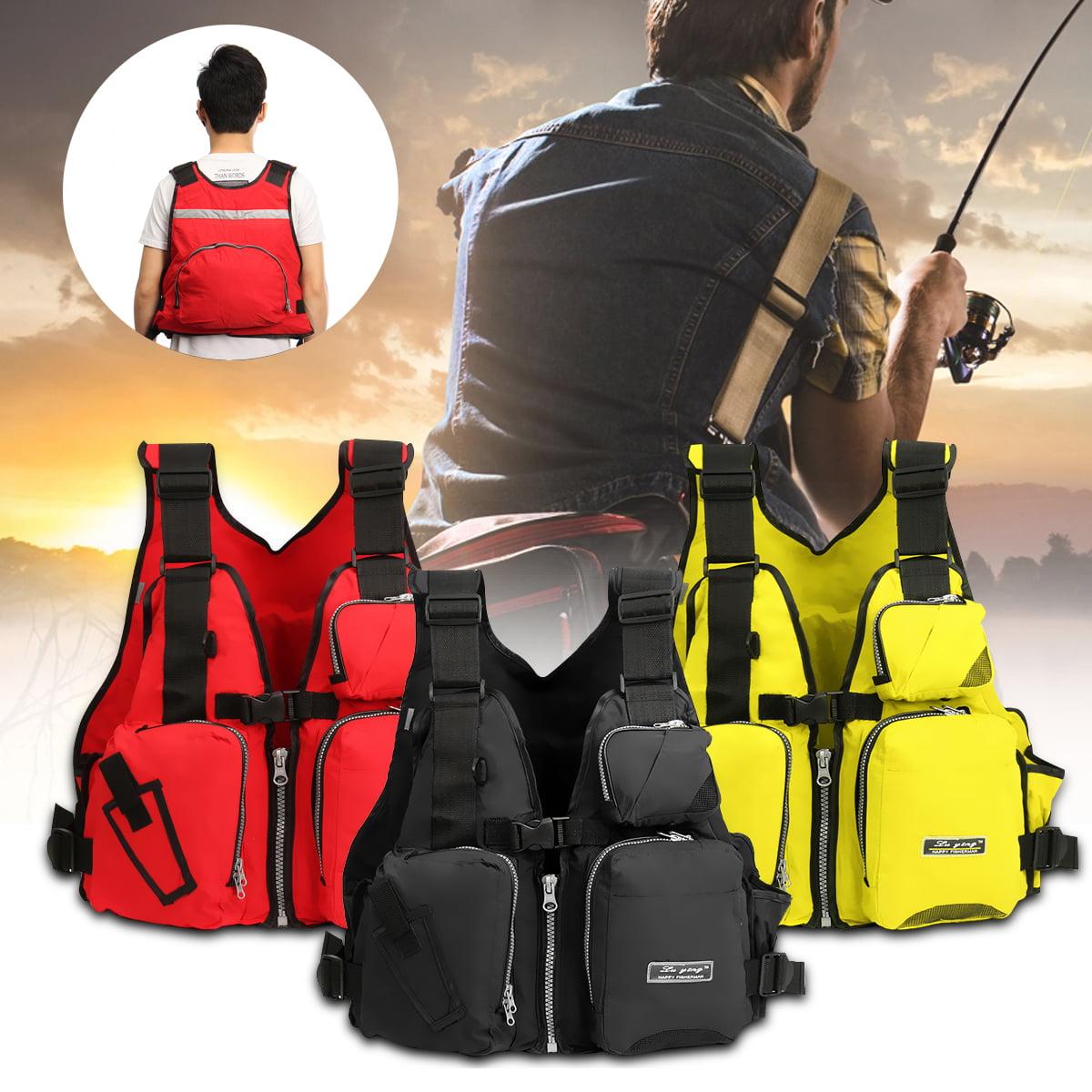 Professional Adjustable Adult Life Jacket Nylon EPE Swimming Boating Drifting Floating Vest with Multi-Pockets and Reflective Strip Fishing Life Vest