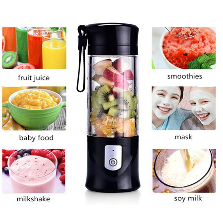 Portable Fruit Juicer Cup -Glass Smoothie Blender, 4000mAh Rechargeable Battery-420ML Water Bottle, Apple, strawberry, kiwi, vegetables, milk, one cup a day for good health