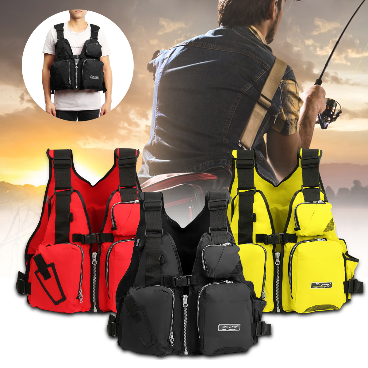 Adult Universal Breathable EPE Fishing Life Jacket Fly Fishing Vest Sailing Swimming Buoyancy Aid Waistcoat Boating... by