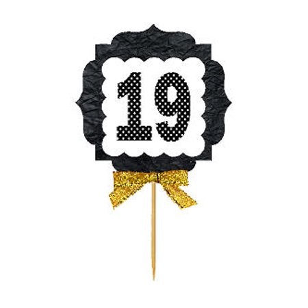 19th Birthday / Anniversary Gold Ribbon Hand Crafted Novelty Cupcake Decoration Toppers / Picks -12ct