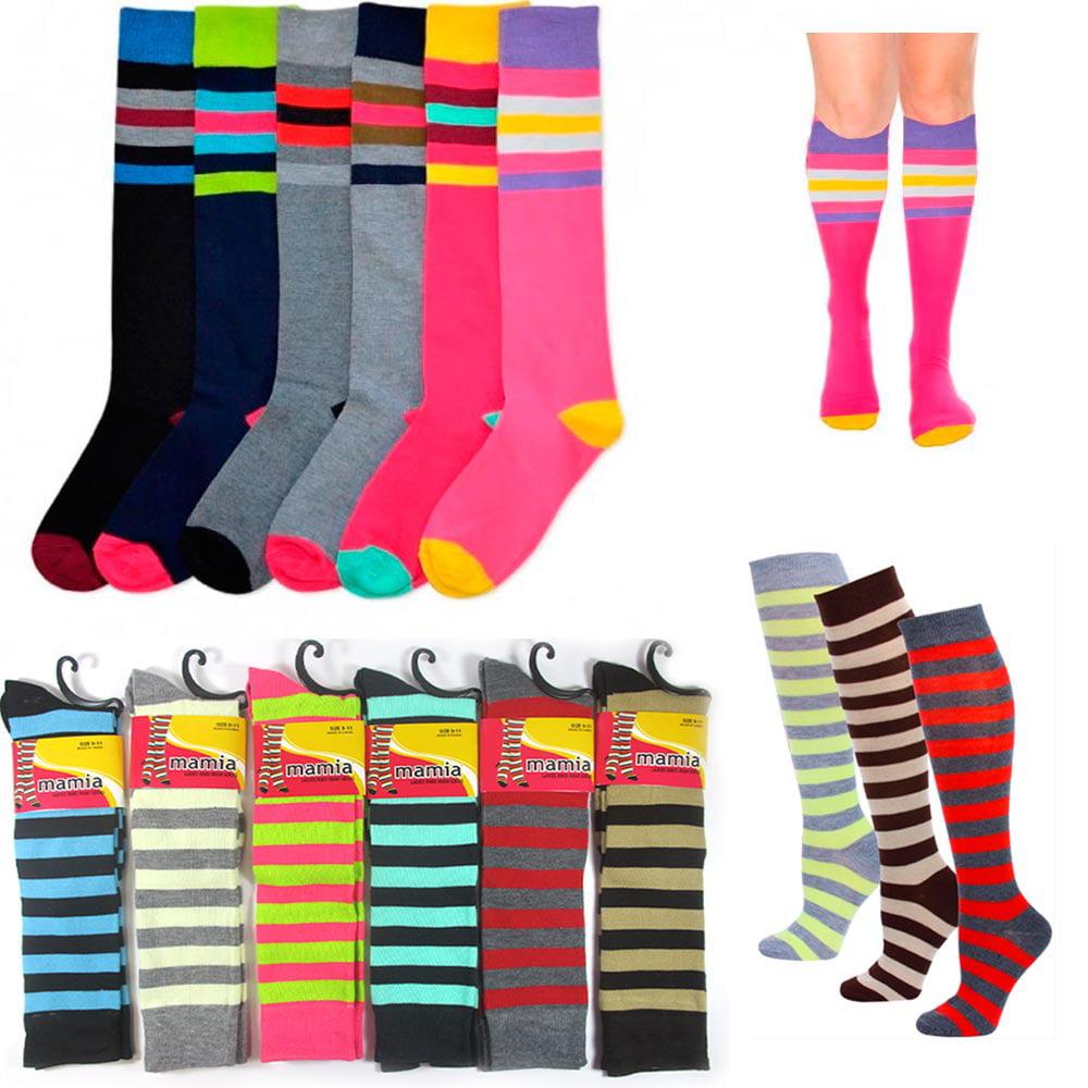 6 Pair Womens Girls Knee High Socks Lot Multi Pattern School Soccer...