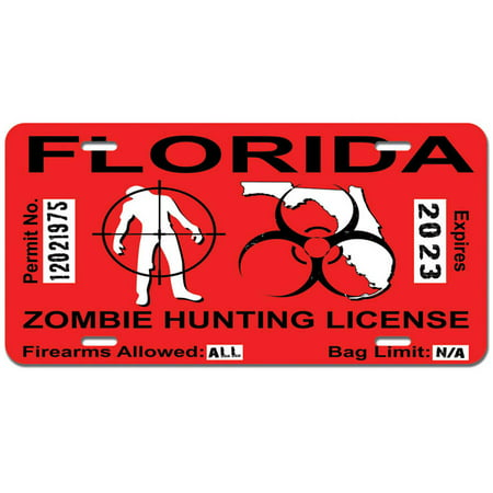 Florida fl zombie hunting license permit red biohazard for Fishing license va walmart