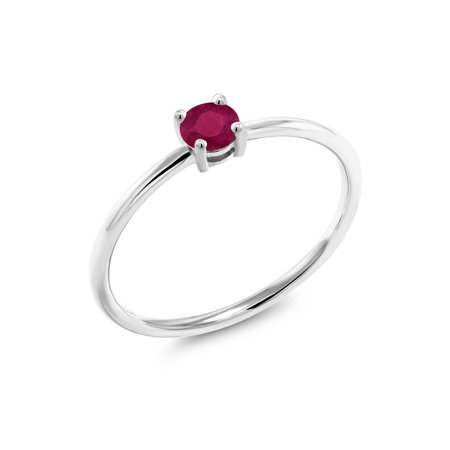 Gold Red Ruby Ring - 0.30 Ct Round Red Ruby 10K White Gold Ring