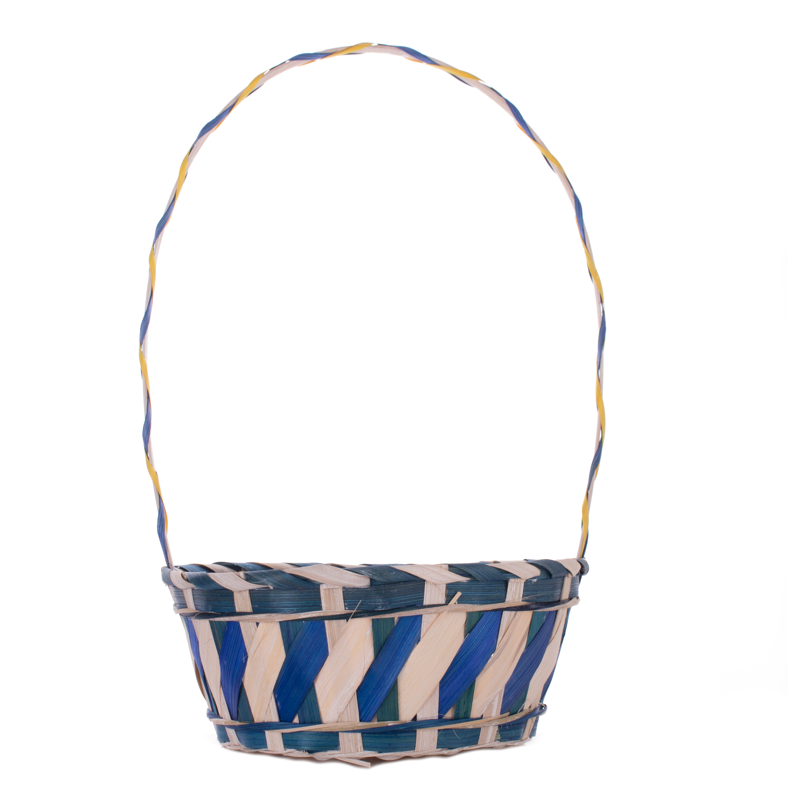 """Deluxe 2-Tone White Wash Round Bamboo Woven 16.5"""" Easter Gift Basket w Handle"""