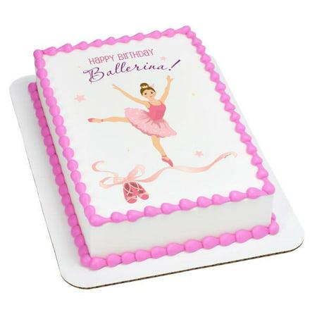 Birthday Ballerina-Caucasian Edible Cake Topper Image (Ballerina Cake)