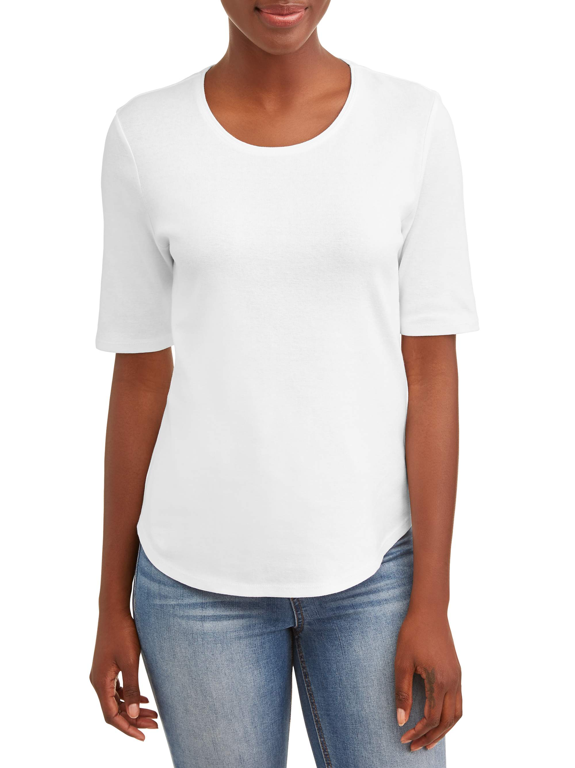 Women's Scoop Neck Elbow Sleeve Tee