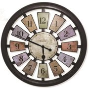 Casual Color Framed Panel Wall Clock, Analog Display, Round, 18 in., Multi-Colored