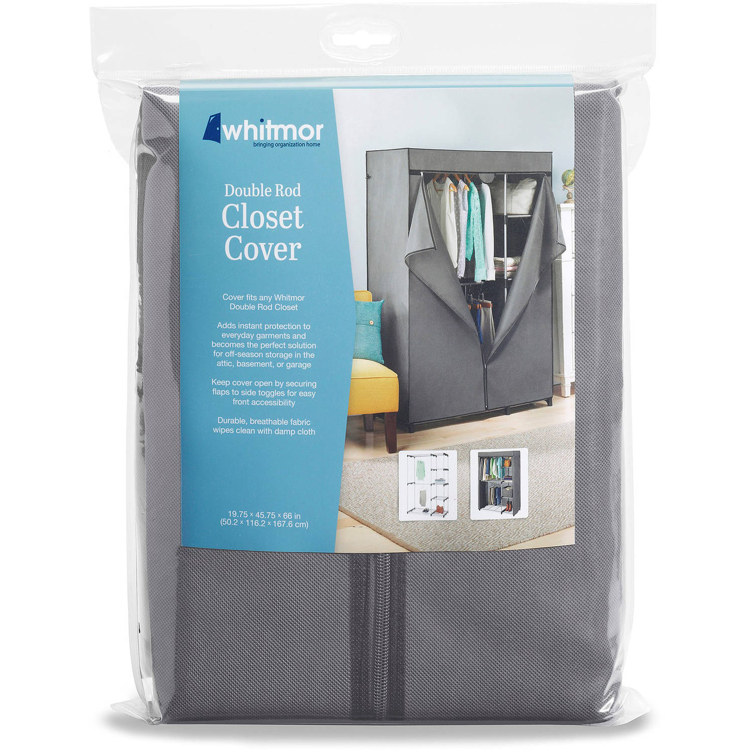 COVER ONLY for Whitmor Double Rod Closet Gray