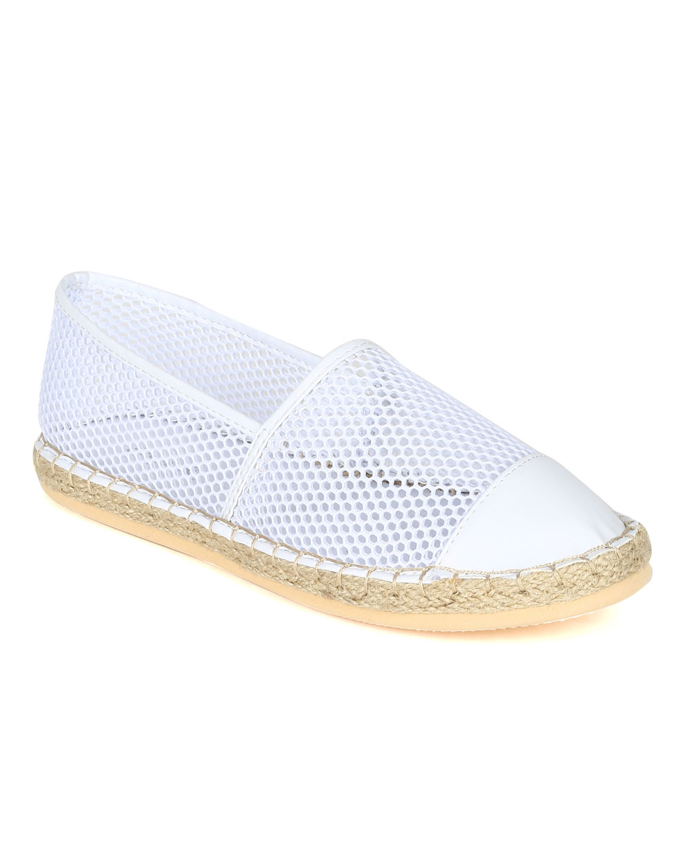Qupid CA70 Women Mixed Media Espadrille Mesh Capped Toe Slip On Beach Loafer