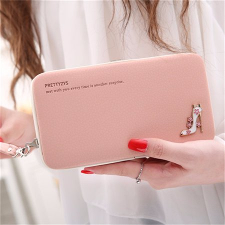 Fashion Woman High Heels Functional Leather Purse Phone Wallet Case Cover Clutch Bag phone bags & cases universal for under 5.5 Inch Smartphone Lady Gift ()