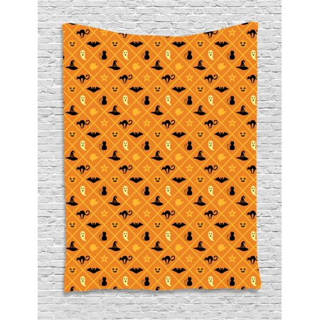 Ghost Tapestry, Geometric Pattern of Halloween Symbols Cat Hat Bat Ghost Leaves Pumpkin, Wall Hanging for Bedroom Living Room Dorm Decor, 40W X 60L Inches, Orange Black Pale Yellow, by - Halloween Palm Springs 2017