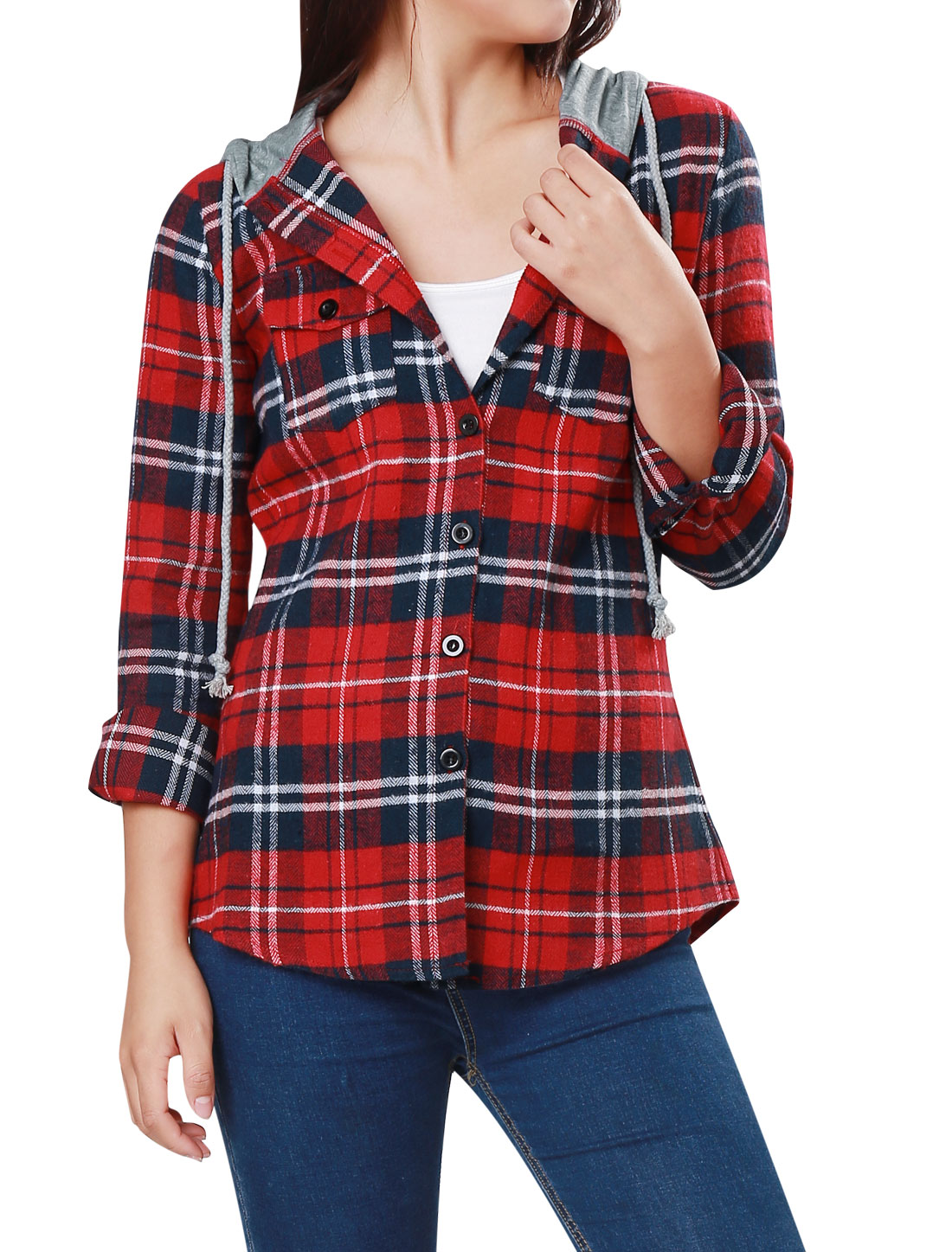 Women's Drawstring Hoodie Button Up Plaid Shirt Red (Size M / 8)