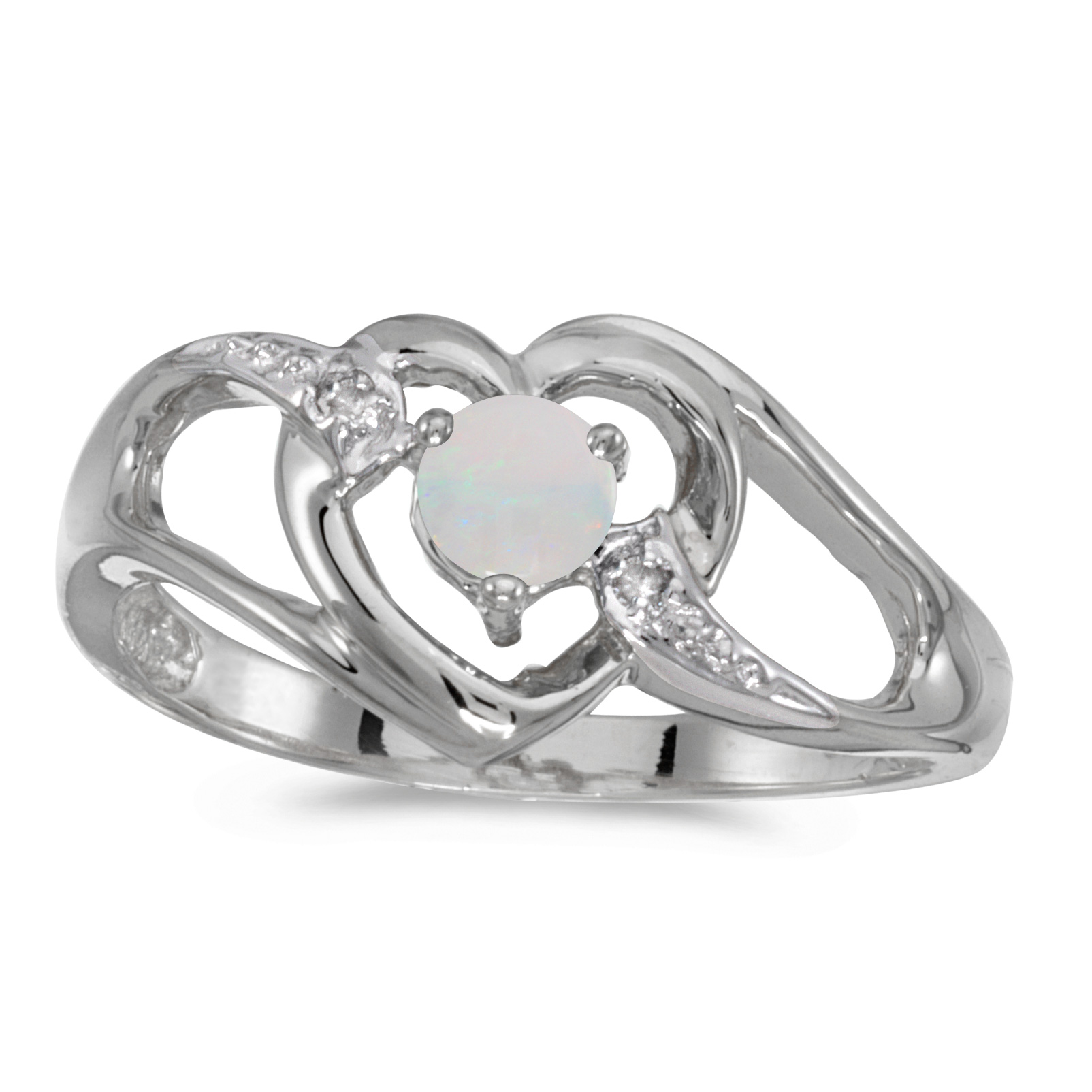 10k White Gold Round Opal And Diamond Heart Ring by