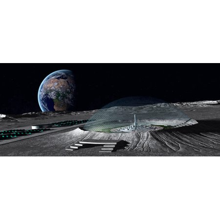 A domed crater is home to a lunar city Earth rises in the background Poster Print by Frieso HoevelkampStocktrek Images (Rise Lantern City)
