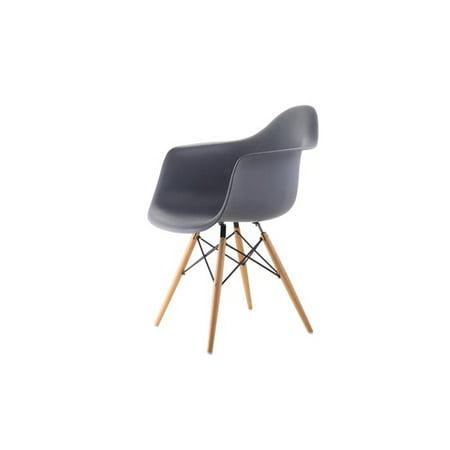 Magnificent Mid Century Modern Eiffel Style Bucket Dining Chair With Wood Base Medium Grey Set Of Four Machost Co Dining Chair Design Ideas Machostcouk