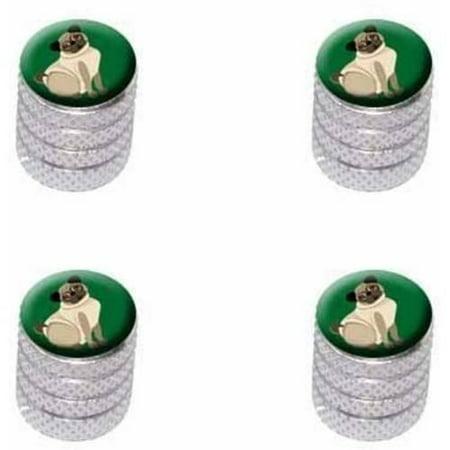 Pug Green Dog Pet Tire Rim Wheel Aluminum Valve Stem Caps