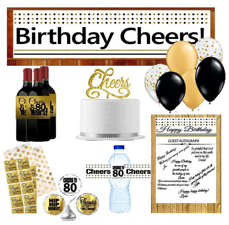 80th Birthday Party DecorationsDecoraitons Kit w. Banner ...