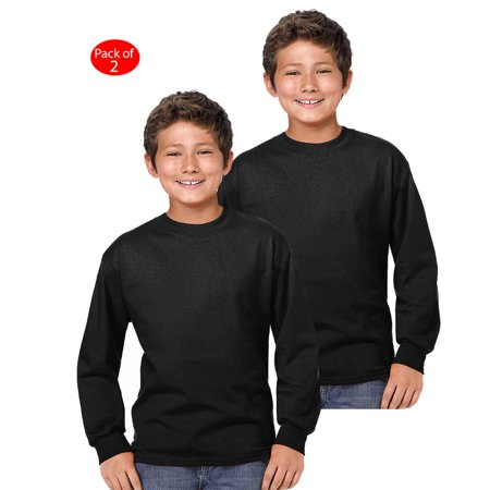 Hanes Youth Comfort Soft; TAGLESS; Long-Sleeve T-Shirt, Color: Black, Size: XS --- PACK OF 2 (Boys - Original Company Packing)](Back Boys)