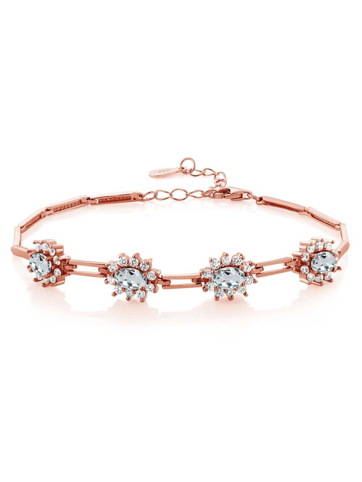 3.72 Ct Oval Sky Blue Aquamarine 18K Rose Gold Plated Silver Bracelet by