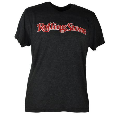 Rolling Stone Famous Music Magazine Felt Wordmark Heather Grey Tshirt Tee