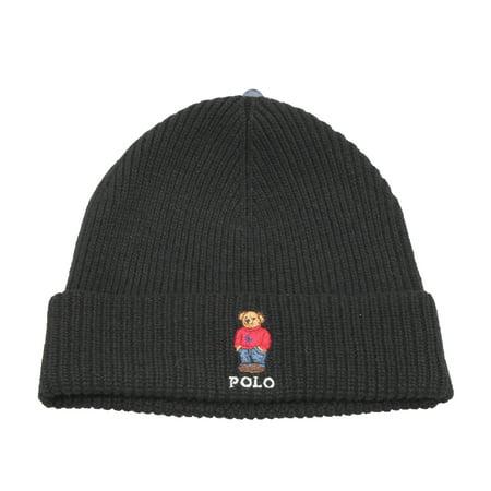 Polo Ralph Lauren Polo Bear Knit Black Big Pony Scully Beanie Hat  PC0195-001 - Walmart.com 73877c2e170